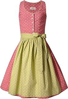 Almsach Kinderdirndl Teeniedirndl Jugenddirndl - Irmi Kid - Trachtenkleid rosa inkl. Schürze grün hellgrün - Baumwolle - Größe 80-152