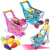 Trendi 46pcs Kids Childrens Shopping Trolley Cart Role Play Set Toy Plastic Fruit Food (Pink)