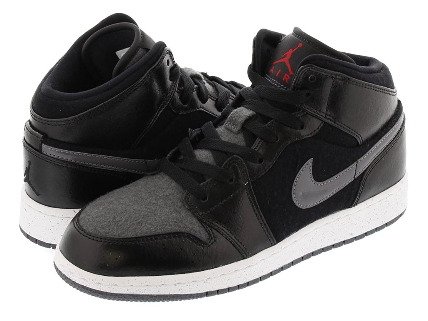 品断言する危険な[ナイキ] AIR JORDAN 1 MID PREMIUM BG BLACK/DARK GREY/WHITE/GYM RED [並行輸入品]