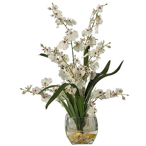 Modern Artificial Flower Arrangement in Wooden Pot Free P/&P