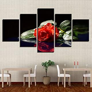HGJGJY Canvas Wall Art Pictures Home Decor 5 Pieces Lonely Red Rose Flower Painting HD Printed Poster For Living Room Modular
