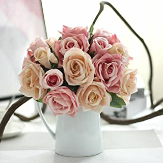 Houda Rose Artificial Flowers Bouquets, 9 Heads Fake Flowers Silk Roses Bridal Wedding Bouquet for Home Garden Party Wedding Decoration (02 Pink)