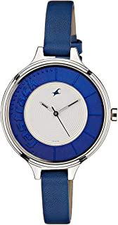 Fastrack Women's Blue Dial Leather Band Watch - T6122SL01