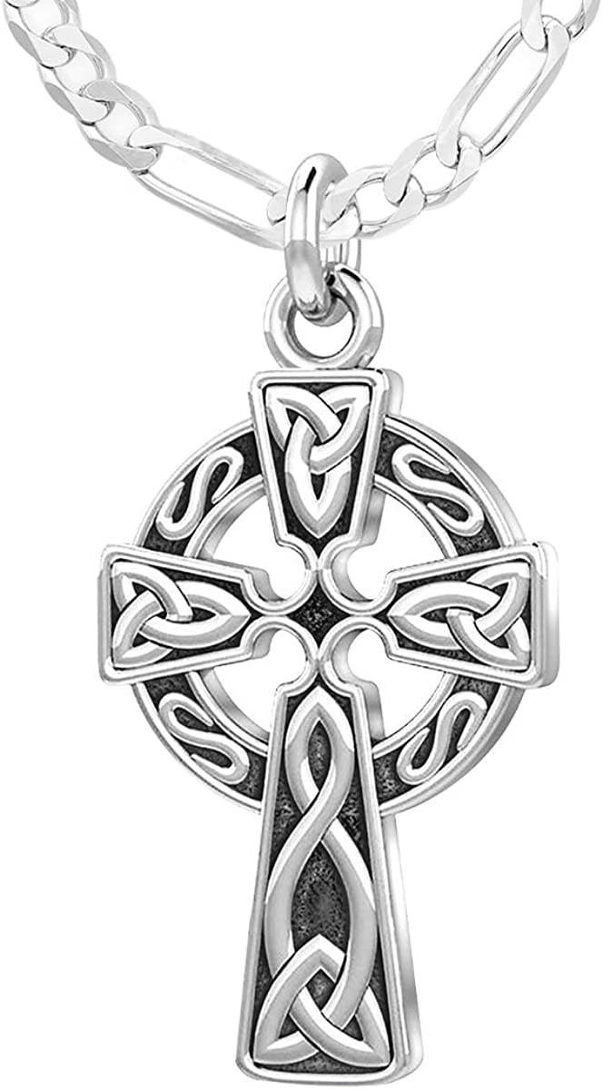 18 to 24 US Jewels and Gems Ladies 925 Sterling Silver 1in Irish Celtic Knot Cross Pendant Necklace