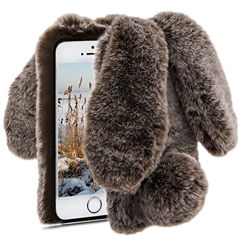 Herzzer Fourrure Marron Paillette Coque pour iPhone 5S, Hiver Chaud Soft Etui Handmade Fluffy Villi avec Oreille de Lapin Design Housse de Protection Luxe Bling Sparkle Strass pour iPhone 5 5S Se