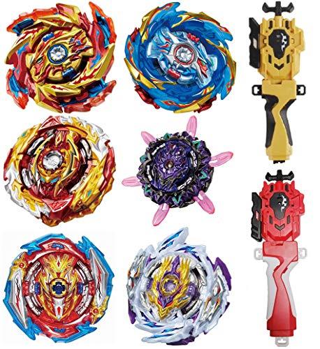 GiGimelon 6 Pcs Gyros + 2 Pcs Launchers + Stickers Set, Bey Burst Battle Set,Battling Tops, Boys Kids Party Birthday Idea