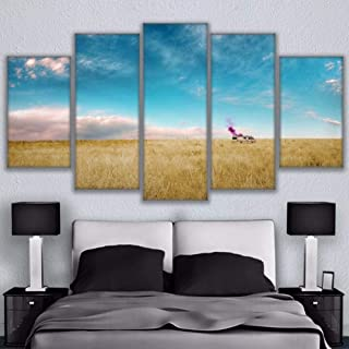 ZFKOB (Frameless HD Printed Canvas Pictures Poster Living Room Home Decor 5 Pieces Thick Growth of Grass Breaking Bad Rv Painting Wall Art