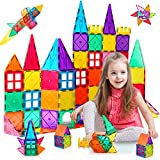 vatenick 80PCS Magnetic Tiles Building Blocks Set 3D Color Magnet Toys Magnetic Blocks Educational Toys for Kids Birthday Gifts for Boys Girls Toddler Age 3 4 5 6 7 8 9 10 11 12 Year Old