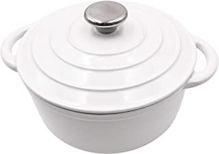 AIDEA Dutch Oven Enameled Cast Iron Round, Bread Baking Pot with Lid & 3-Quart Natural Non-Stick Slow Cook Self-White
