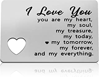 Anniversary Card Gifts for Him Engraved Wallet Card for Boyfriend Girlfriend Couple Gifts You Are My Heart Mini Love Note ...