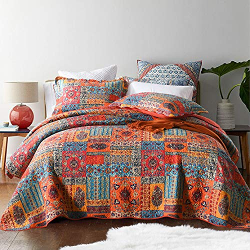 Best Comforter Set, Pastoral Style 3 Pieces Floral 100% Cotton Patchwork Bedspreads Quilt Set Queen