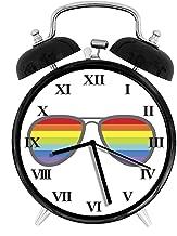 BCWAYGOD Cool Rainbow Lens Aviator Sunglasses Alarm Clock,Alarm Clock for Kids,Desk Clock 4in