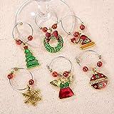 COSORO Weihnachten Tischdeko Kits-30 Fun Weihnachten Glas Dekorationen,6 Xmas Socken Bestecktasche Besteckhalter Taschen,6 Weinglas Charms Marker,1 Pack Xmas Confetti - 8