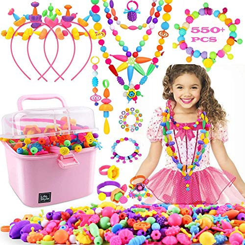 Pop Beads for Girls Toys - 550+PCS Kids Jewelry Making Kit Pop Snap Bead Art and Craft Kits DIY Bracelets Necklace Hairband and Rings Creativity Toy Gifts for Age 3 4 5 6 7 8 Year Old Toddlers Girl