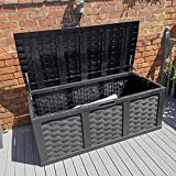 Starplast Outdoor Garden Rattan Style Plastic Storage Utility Chest Cushion Shed Box With Sit-On Lid Container New 535L Litre 66-811 Black