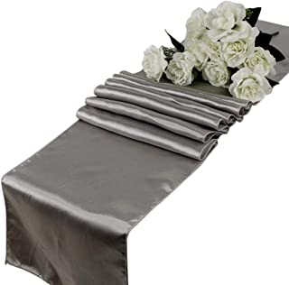 VDS - 10 PCS 12 x 108 inch Satin Table Runner for Wedding Banquet Décor Runners Charmeuse Silk Table Runner - Silver Gray