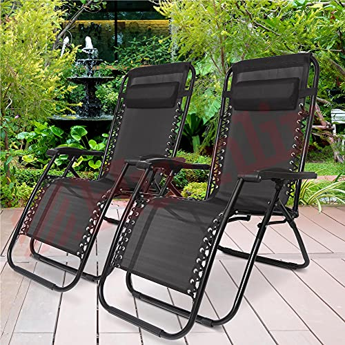 Sun Lounger Garden Chairs With Cup & Phone Holder and 2 Head Cushions - Deck Folding Recliner Zero Gravity Outdoor Chair - 2 Chairs in Black