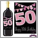 Eternal Design 50th Birthday Bottle Label/Sticker Wine Gift.Pink Glitter