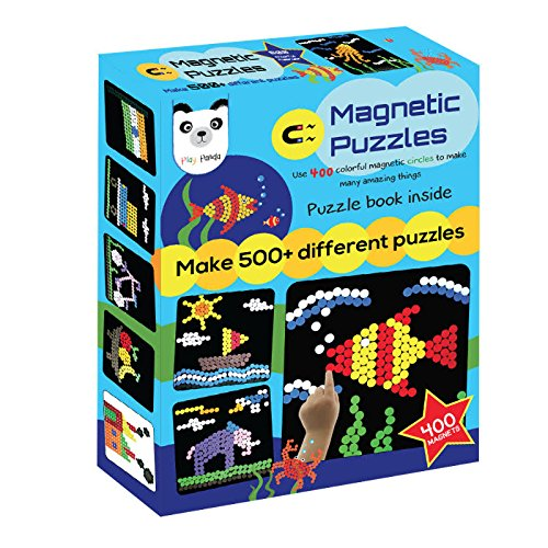 Play Panda Magnetic Puzzles : Circles - Includes 400 Magnets, 200 Puzzles, Magnetic Board, Display Stand - for Boys and Girls