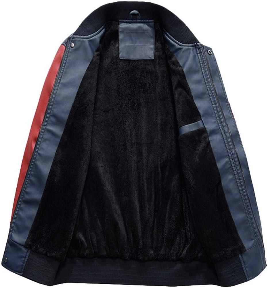 Mordenmiss Mens Basic Leather Letter Man Baseball Varsity Jacket Bomber Outwear