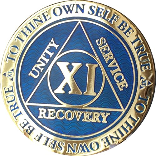 Recoverychip 11 Year Reflex Blue Gold Plated AA Medallion Alcoholics Anonymous Chip