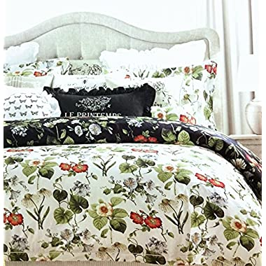 Tahari Home Vintage Botanical Wild Flower Print Duvet Quilt Cover 100-percent Cotton Bedding Set Colorful Floral Branches Drawing of Summer Blossoms (King, Black/Reversible)