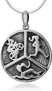 925 Oxidized Sterling Silver Triathlon Swimming Cycling Running Sport Athlete Pendant Necklace 18
