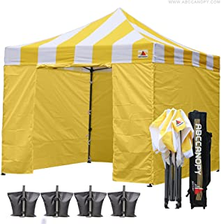 ABCCANOPY Canopy Tent Popup Canopy 10x10 Pop Up Canopies Commercial Tents Market stall with 6 Removable Sidewalls and Roller Bag Bonus 4 Weight Bags and 10ft Screen Netting and Half Wall,Carnival Gold