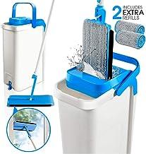 Masthome 免手环压扁平拖把桶系统,带 2 个拖把头自动清洁拖把灰尘拖把用于地板清洁