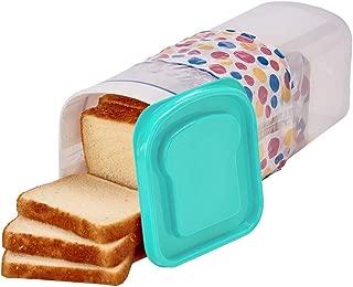 Buddeez Bread Container - Plastic Storage Keeper, Loaf, Aqua Lid