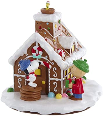Peanuts Kurt Adler Battery-Operated LED Gingerbread House Table Piece, Multi