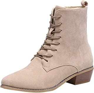 Aunimeifly Ladies Solid Color Suede Single Boots Women Casual Zipper Ankle Booties Outdoor Shoes