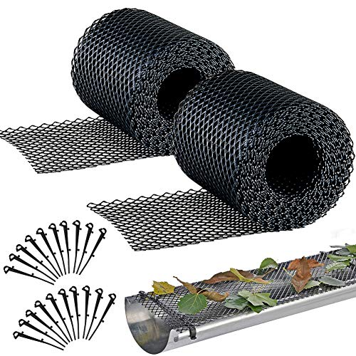 Plastic Gutter Guard Mesh 2 PCS, Gardtech Leaf Protection 6.1in Wide by 2x20ft Long Mesh Gutter Guards Roll Leaf Guard Splash Roof Panels Black with 20 Fixed Hooks