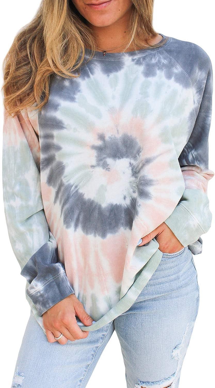 Women's Tie Dye Sweatshirts Casual Crewneck Long Sleeve Tops Color Block Pullover Shirts