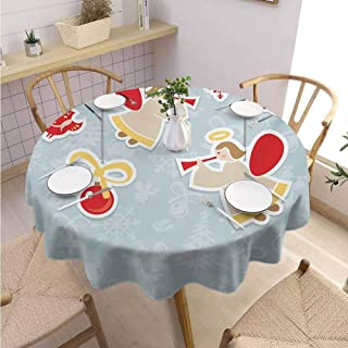 S-ANT Overlays Round Tablecloth Angel,Fairy Playing Trumpet Halo Spiritual Wings with Xmas Birds Balls Celebration,Red Beige Blue Grey Parties Wedding Patio Dining D62