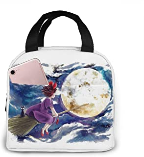 MAPOJH Reusable Insulated Lunch Bag Tote Bag Thermal Lunch Bag With Front Pocket For Woman Man Kids Work Picnic Or Travel-Kiki's Delivery Service Fly To The Moon