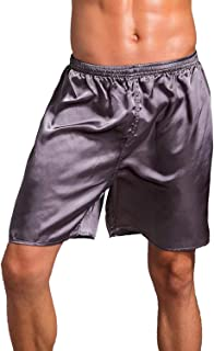 Lu's Chic Men's Satin Boxers Underwear Shorts Luxury Solid Soft Loungewear Pajama Short Pants