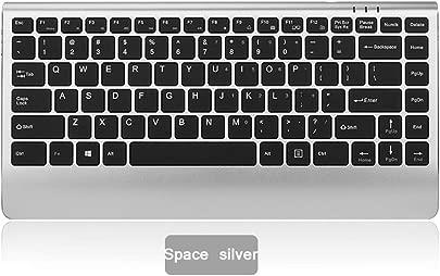 Wiederaufladbare drahtlose Tastatur Office Home Laptop Desktop-Computer ultrad nne Legierung tragbarer Mini-Empf nger  QWERTY Tastatur  Farbe Space Silver