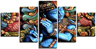 Yyjyxd Canvas HD Printed Pictures Living Room Decor 5 Pieces Lord Krishna Hindu Religion Paintings Modular Poster Wall Art Framework -4x6/8/10inch,Without Frame