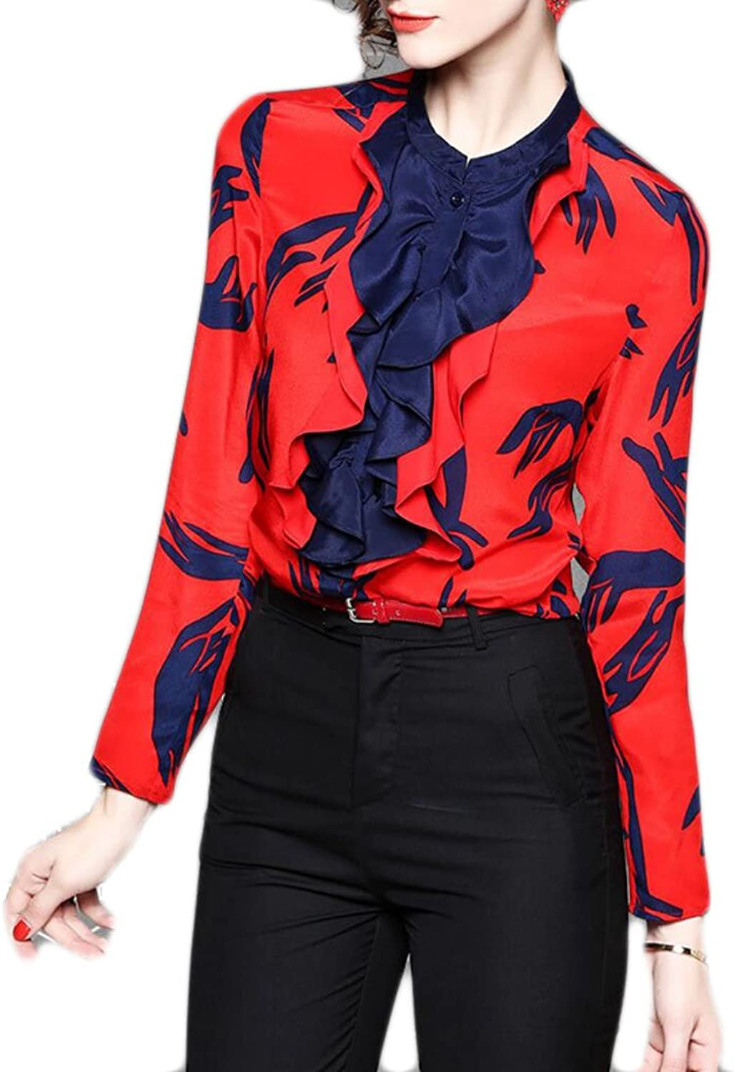 GAGA Womens Floral Printed VNeck Long Sleeves Blouses Casual Tops