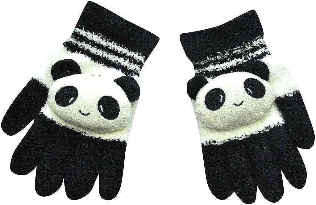 Jchen Women Cute Cartoon Winter Warm Gloves Classic Thicken Knitted Full Finger Mittens Cold Weather Snow Gloves