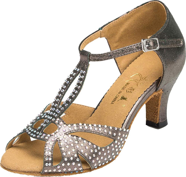 Womens Ballroom Dance shoes Kitten Heel T- Strap Peep Toe Latin Sneaker 1009
