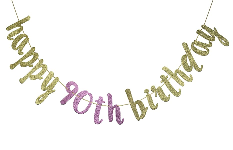 Happy 90th Birthday Banner Glitter Party Bunting - 90th Birthday 90 Years Party Decorations (Gold & Rose)