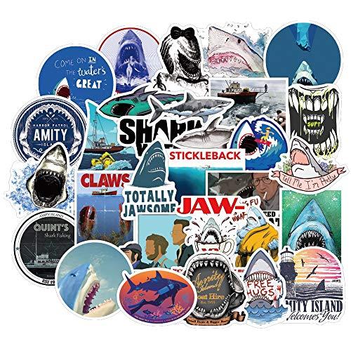 ZZHH 50 UdsPegatina depelículaPVC océano Animal Gran tiburón Blanco calcomanía Pegatinas para...