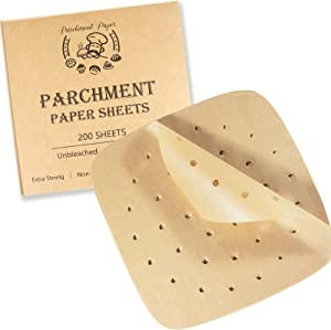 Air Fryer Parchment Paper Liners - 8.5 inch Pre Cut Baking Paper Cooking Sheets Perforated Parchment Paper for Air Fryer Bamboo Steamer Basket Square 200PCS