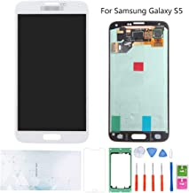 Kosuroum Screen Replacement for Samsung Galaxy S5 G900 i9600 G900A G900T G900V G900P LCD Glass Display Touch Digitizer Assembly Tools (White)