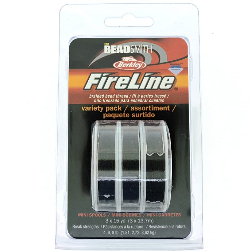 Fireline Microfused Braided Bead Thread, Variety Pack, 3 x 15 Yard spools, Smoke Grey, 4,6,8 lb strength