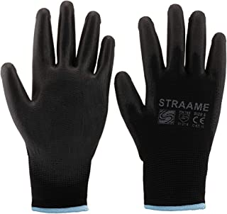 Straame Pack of 12 or 24 Black Safety Work Gloves, Outdoors PU and Nylon Non-Slip Work Handling Gloves, Good Dexterity Pro...