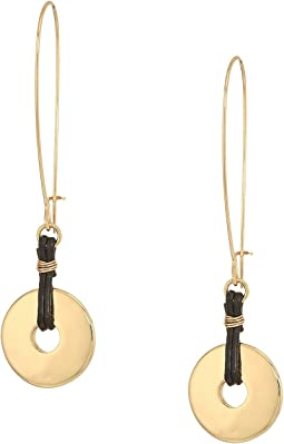 Gold and Brown Leather Disc Drop Earrings
