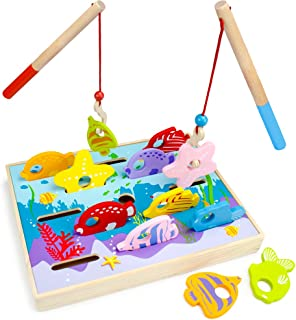 Wooden Wonders Let's Go Fishing Dexterity Game, Counting and Matching Skills by Imagination Generation